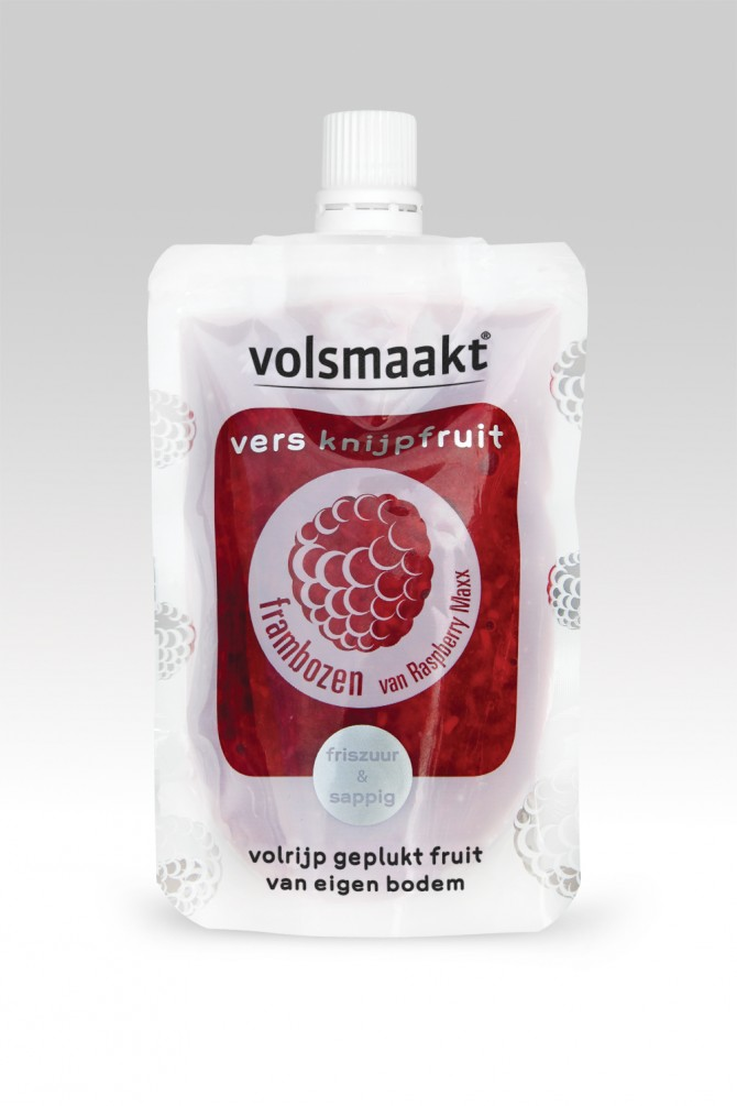 fresh raspberries in a squeezable pouch